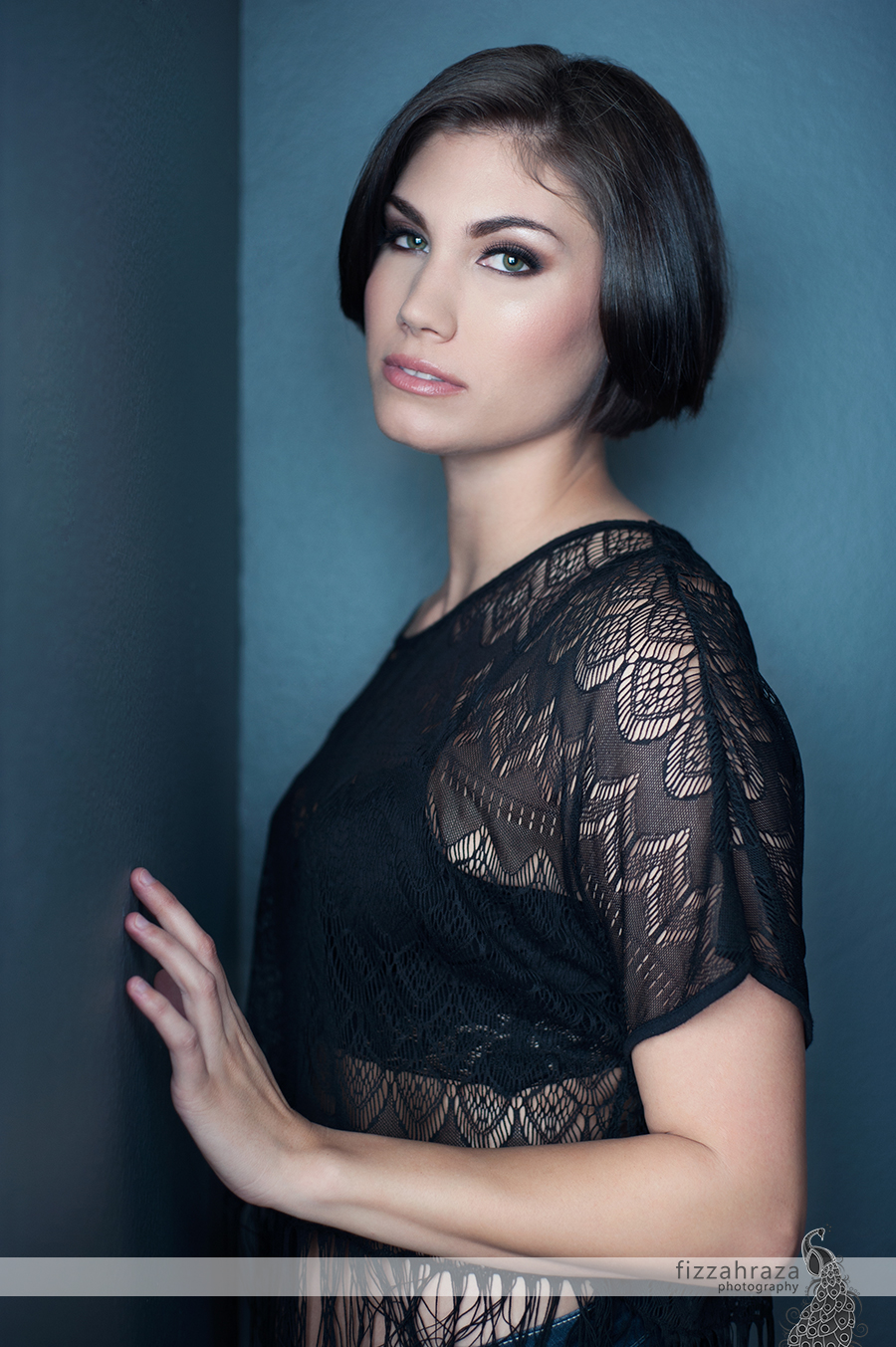 lace top glamour studio portrait of a woman with short hair bob