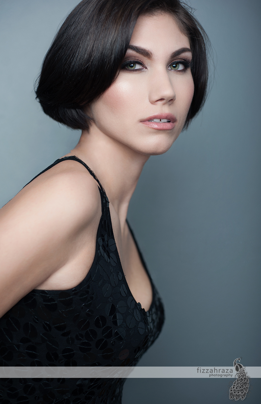 sexy glamour portrait of woman with short hair green eyes in san francisco