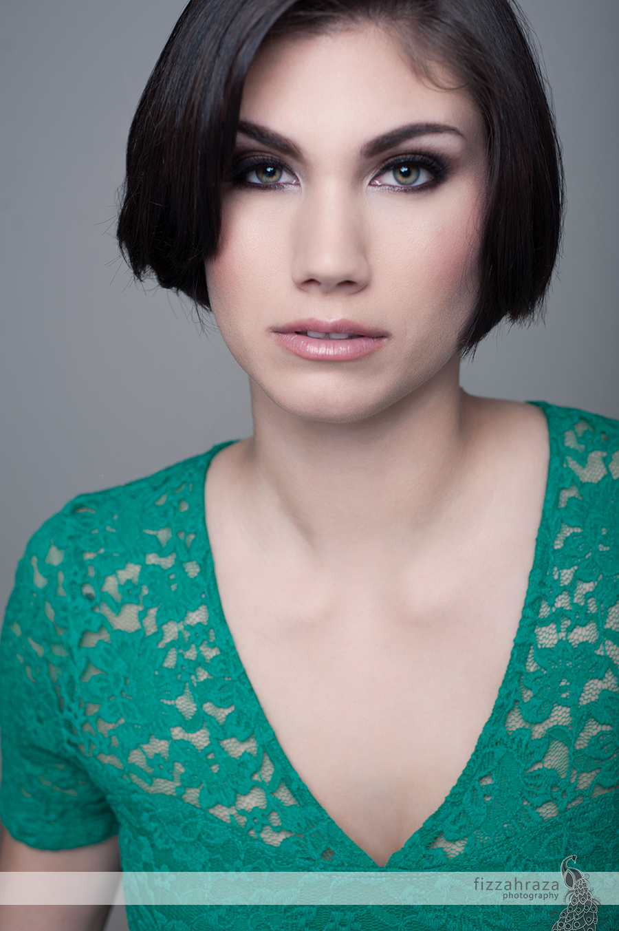 studio glamour portrait teal lace top green eyes san francisco